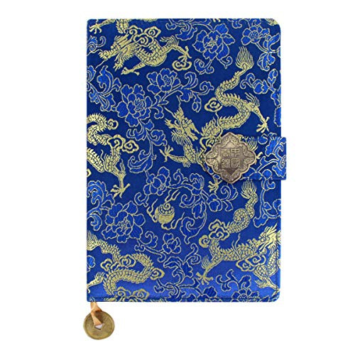 Mily Exquisite Notebook Chinese Yun Brocade Notebook Silk Hardcover Diary Journal Sketchbook Travel and Thought Blank Book-Gold Dragon]()