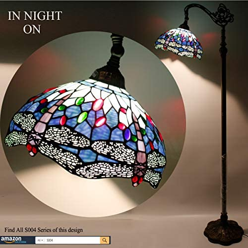 Tiffany Style Reading Floor Lamp Blue Stained Glass with Crystal Bead Dragonfly Lampshade 64 Inch Tall Antique Arched Base for Bedroom Living Room Lighting Table Set Gifts WERFACTORY