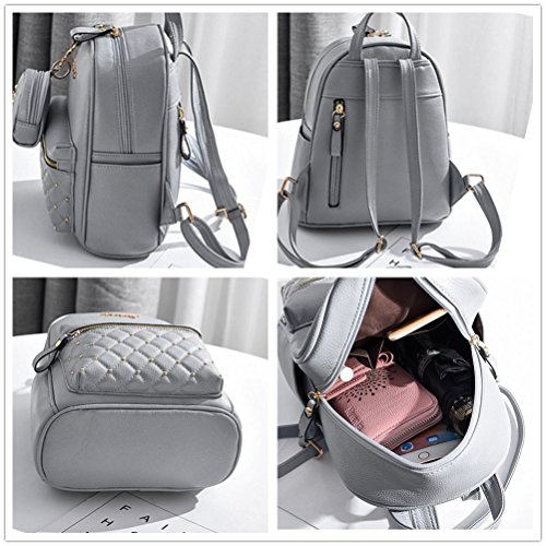 3e87225d9652 Cute Small Backpack Mini Purse Casual Daypacks Leather for Teen and Women  Gray