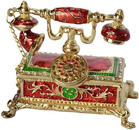 ZYL-YL 宝石装飾ボックスアンティーク電話デザイン装飾小物ボックスのラインストーンの宝石エナメルヒンジのリングボックスイヤリ