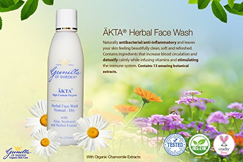 ÄKTA® Herbal Organic Face Wash for Normal/Dry Skin 7 oz: Based on Nutrient Rich Organic Aloe- 13 Organic Botanical Extracts Provide Anti-Aging Benefits- Chamomile, Jojoba, and Sea Kelp Calm and Hydrate- Oil-free