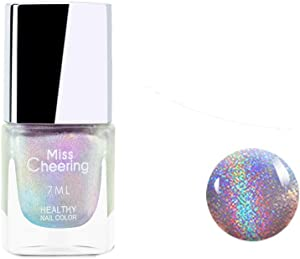 Ownest Holographic Nail Polish, Gorgeous Glossy Holographic Halo Glitter Polish Nail Art Nail Pigment Diamond Laser Nail Polish -LS01