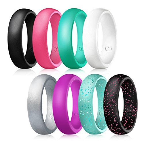Lovetter Silicone Wedding Rings,Flexible Silicone Wedding Bands for Women-8 Rings Pack-Black,Turquoise,Purple,White,Metallic Pink?Silver,Rose Red,Turquoise Glitters