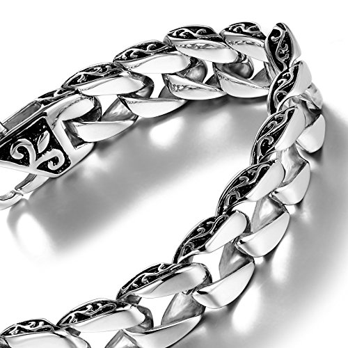 Urban Jewelry Beautiful Fleur De Lis Stainless Steel Link Bracelet for Men (Silver, 8.5 Inches) (Fleur De Lis Pattern Bracelet)