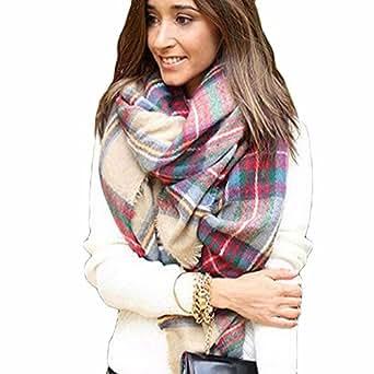 BESSKY Women's Scarf Wrap Shawl Plaid Cozy Checked Blanket Oversized Tartan (175 x 75 cm, M820)