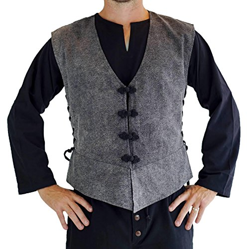 'Medieval Vest', Doublet, Renaissance Mens Costume - Stone Gray