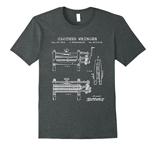 Mens 1970 Clothes Wringer Patent Graphic T-Shirt Large Dark Heather