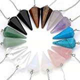 Top Plaza Natural Amethyst Rose Quartz Clear Crystal Opalite Multifaceted Pointed Pendulums Reiki Healing Pendants