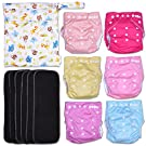 Pastel Dreamland 13-Piece Baby Gift Set - Pack of 6 Cloth Diapers, 6 Bamboo Charcoal Inserts and WetDry Bag, Baby Gift All in One Cloth Diaper Set A