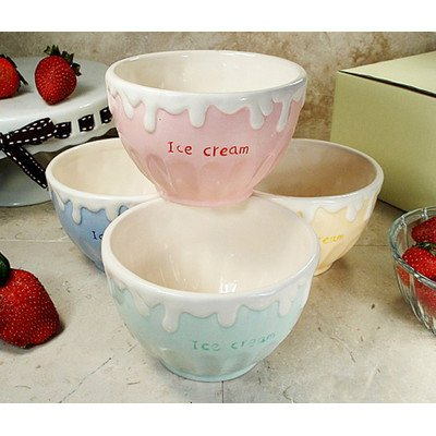 4 Piece Ceramic Ice Cream Bowl (4 Ice Cream Bowls)