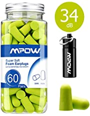 Mpow HP055A 055A, 34dB SNR Soft Foam, 60 Pairs EarPlugs with Aluminum Carry Case, Noise Reduction Sponge Ear Plugs for Hearing Protection, Sleeping, Working, Shooting, Travel-Green, Bright