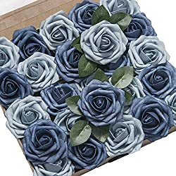 Ling's moment Artificial Flowers Dusty Blue Roses 25pcs Real Looking Fake Roses w/Stem for DIY Wedding Bouquets Centerpieces Arrangements Party Baby Shower Home Decorations