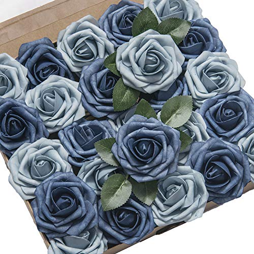 Ling's moment Artificial Flowers Roses 25pcs Dusty Blue Fake Roses Collection for DIY Wedding Bouquet Centerpieces Arrangements Decorations