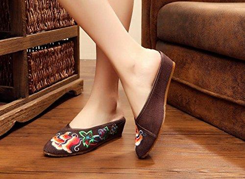 ESFine zapatos bordados, suela de tendón, estilo étnico, solapa hembra, moda, cómodo, sandalias marrón