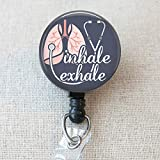 INHALE EXHALE Respiratory Therapist Retractable Badge Holder, Inhale/Exhale RRT RT Lung Anatomy Badge Reel, Respiratory Therapy RT Gifts