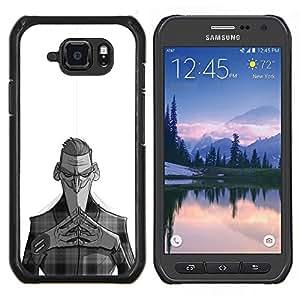 LECELL--Funda protectora / Cubierta / Piel For Samsung Galaxy S6Active Active G890A -- Nefarious Negro Hombre Blanco Niños --