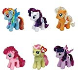 Ty My Little Pony Friendship Magic 6 Inch Beanie Babies Collection - Plush Doll 6 Pieces Doll Set (Rarity, Pinkie Pie, Applejack, Fluttershy, Rainbow Dash and Twilight Sparkle)