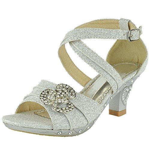 Girls Ankle Strap Glitter Rhinestone Pageant Dress High Heel Sandals Silver
