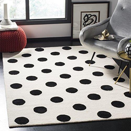 Safavieh Kids Collection SFK904D Handmade Ivory and Black Polka Dot Wool Area Rug (6' x -