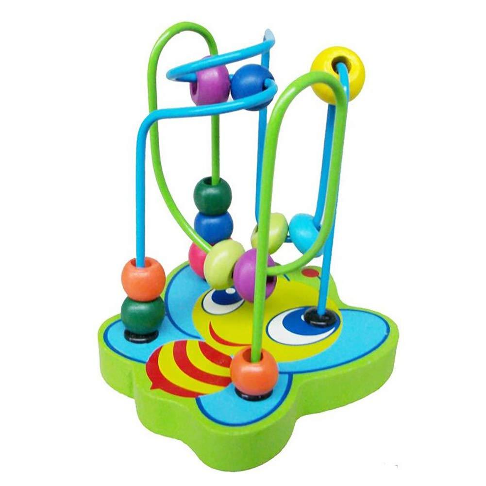 Cdet. 1pc Ensemble Puzzle en Bois Jeux Apprentissage pour développement éducatifs précoces Perles Rondes créatives Jouets Bambin Enfants et Création Usage Domestique Vert