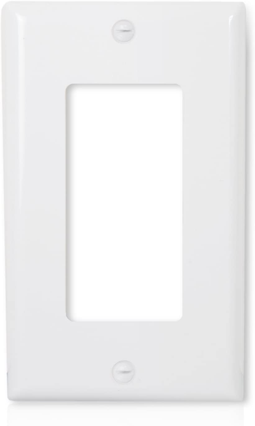 Maxxima 1 Gang Decorative Outlet Wall Plate, White, Single Outlet, Standard Size (Pack of 10)
