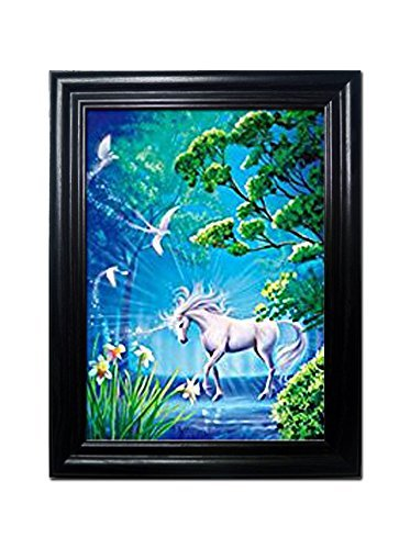 UNICORNS FRAMED Wall Art-Lenticular Technology Causes The Artwork To Flip-MULTIPLE PICTURES IN ONE-HOLOGRAM Type Images Change--MESMERIZING HOLOGRAPHIC Optical Illusions