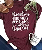 Pumpkins Hayrides Apple Cider Falling Leaves Shirt Women Halloween Funny Top Tee Size M (Red)