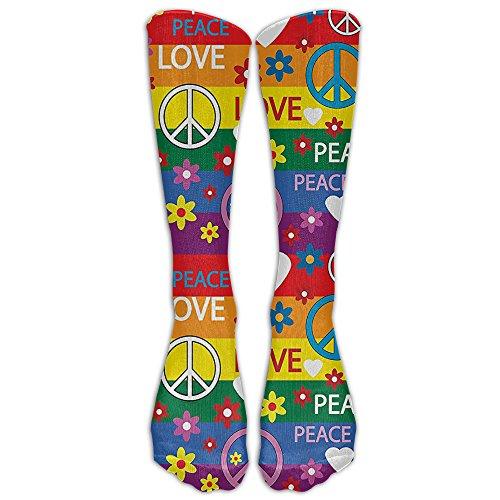 QCa Stocking Heart Peace Symbol Flower Power Political Hippie Cheerful Colors Festival Joyful Unisex Outdoor Knee High Long Tube Socks