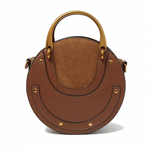 Women Handbags Round Metal Handle Fashion Style Crossbody Shoulder Bags Brown