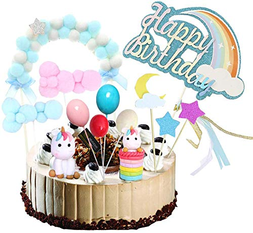 Unicorn Cake Topper Kit Cloud Balloon Happy Birthday Banner ...