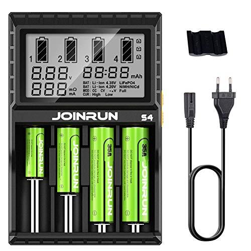 Surophy 18650 Batterieladegerät Akku Ladegerät Universal LCD-Display 4 Schacht Plug Ladestation für Batterien Li-Ionen…