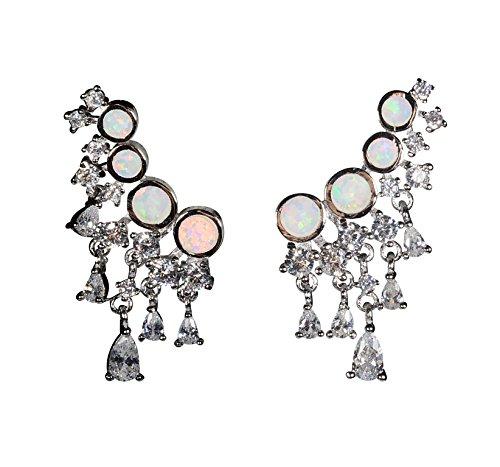 Sterling Silver Earrings Ear Drop Earrings Opal Ear Crawler Earrings For Women Silver Ear Cuff Earring Ear Jackets Sterling Silver Halo Earrings Opal Full Ear Earrings