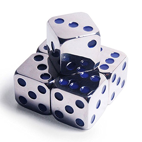 GFDay 5Pcs D6 16mm Custom Metal Alloy Heavy Dice - Highly Polished Premium Edition (Silver body/Deep Blue pips) - Heavy Dice