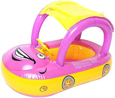 ... Natación para Bebé Niños con Asiento Inflable Flotador Barco de Natación con Toldo Piscina Juguete Acuático Juguetes de Piscina (Amarillo+Rojo purpúreo)