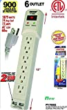 Fashion 6 Outlet Power Strip Surge Protector w/ 2 USB Ports – 900 Joules – 3 ft Cord.