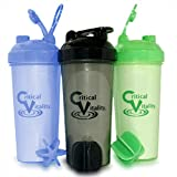 Protein Shaker Bottle Set 3 Pack, 25oz Bottles, Blue/Green/Black...