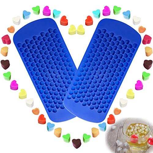 150 Grids Mini Silicone Ice Cube Trays Heart Shaped Candy Chocolate Molds, VIWIEU Small Ice Cubes Mold Maker 2 Pack Chill Your Drink Faster,Tiny Ice Works Great for Blender, Kitchen ()