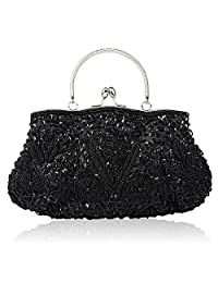 SSMY Beaded Sequin Design Flower Evening Purse Large Clutch Bag