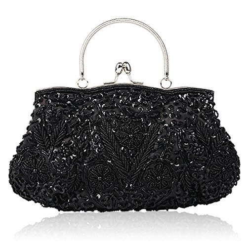 Sequin Beaded Purse - SSMY Beaded Sequin Design Flower Evening Purse Large Clutch Bag (Black)