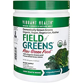 Vibrant Health - Field of Greens, Organic Raw Greens Superfood Juice Powder, 60 Servings