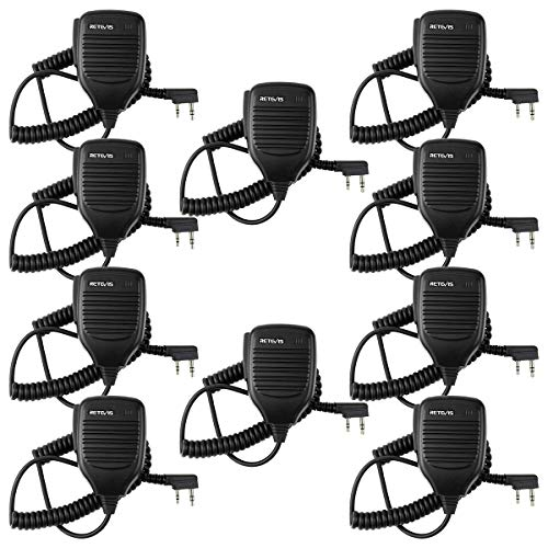 (Retevis 2 Pin Speaker Mic Compatible with Baofeng UV-5R BF-888S BF-F8HP Kenwood Retevis H-777 RT21 RT22 RT27 H-777S Walkie Talkies (10 Pack))
