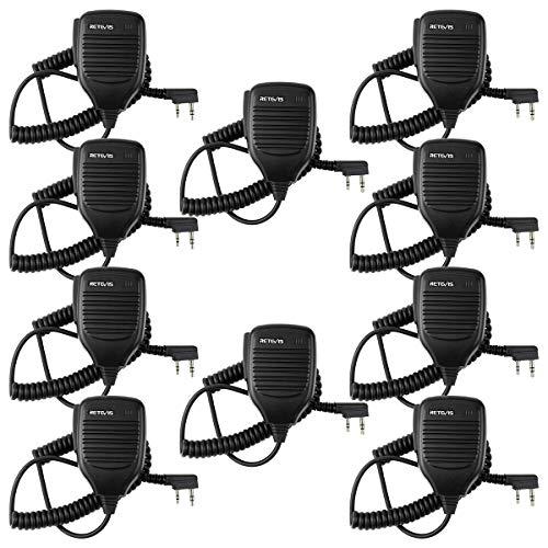 Retevis 2 Pin Speaker Mic Compatible with Baofeng UV-5R BF-888S BF-F8HP Kenwood Retevis H-777 RT21 RT22 RT27 H-777S Walkie Talkies (10 Pack)
