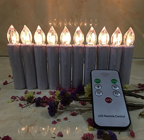 (Flameless Taper Candles with Remote Control Set of 10 Led Electric Candles Battery Powered Warm White Flicker Lights Realistic Christmas Candles with Detachable Clips Birthday Led Lighting)