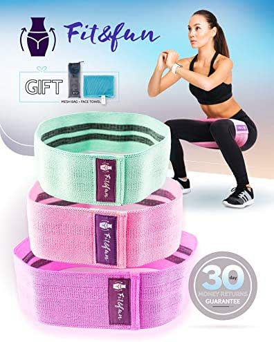 Fit&Fun Cotton Resistance Bands for Leg and Butt Best Workout Band Exercise Band for Fitness Fabric Resistance Wide Loops Stretch Anti-Slip Non-Roll Elastic Cloth Hip and Booty Bands (2019 Upgrade)