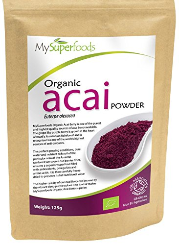 Acai Berry Concentrate (Organic Acai Berry Powder (125 grams / .275 lbs) | MySuperFoods | Certified Organic | High In Antioxidants | Rich in Fibre, Protein, Iron and Nutrients | Harvested by Hand | Perfect for Desserts)
