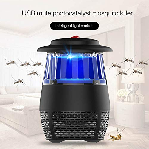 New USB Electric Mosquito Repellent Killer Lamp LED Photocatalyst Mosquito Killer Lamp Silent Light Trap Insect Killer   Black,