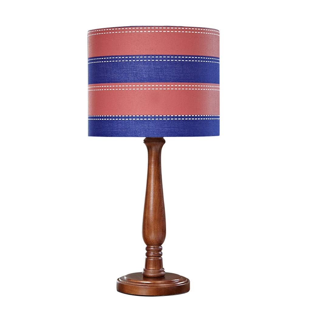 Retro Wooden Table Lamp Simple Living Room Bedroom Modern Antique Fabric Solid Wood Bedside Table Lamp