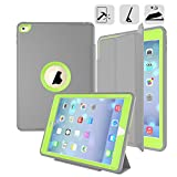 DUNNO 3-in-1 Rugged Slim Dual Layer Leather Protective Cover with Stand for iPad Air 2 - Green