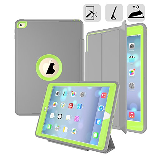 Rugged Pda Cases - DUNNO 3-in-1 Rugged Slim Dual Layer Leather Protective Cover with Stand for iPad Air 2 - Green