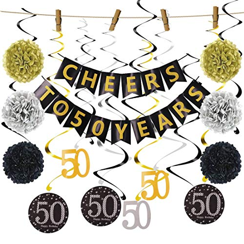 50th Birthday Decorations Kit, Cheers to 50 Years Banner, Happy Birthday Banner, Hanging Swirls, Paper Garland, Sparkling 50 Hanging Swirl for 50th Anniversary Decorations 50 Years Old Party Sup(50th)